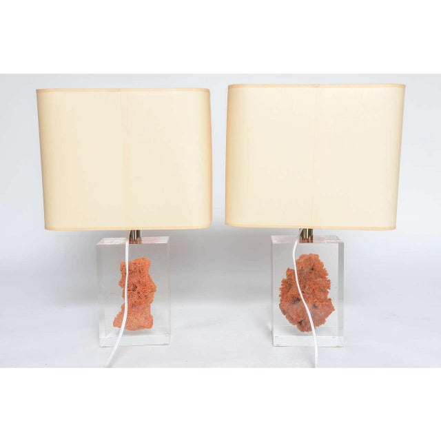 Orange Natural Red Coral in Lucite Block Table Lamps - Sold Indivdually For Sale - Image 8 of 11