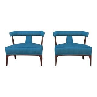 Hollywood Regency Walnut Chairs - a Pair