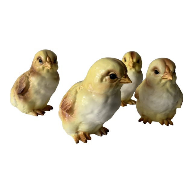 Early 20th Century Lefton Porcelain Baby Chick Figurines - Set of 4 For Sale