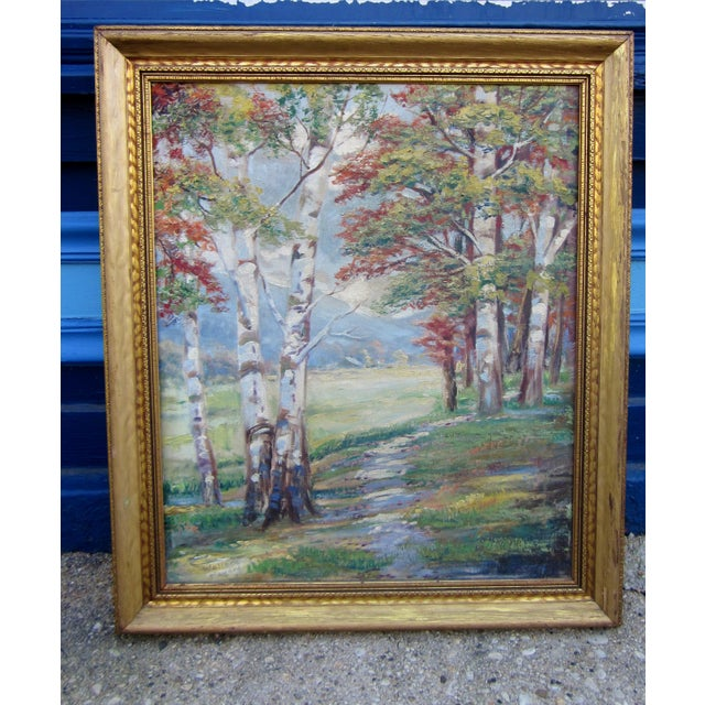 Vintage 1930-1940s Wallace Howard Signed Birch Forest Landscape Oil Painting on Canvas For Sale - Image 11 of 11