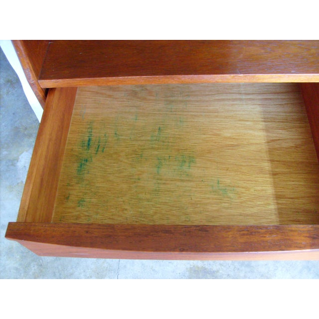 7 Ft. Mid-Century Danish Modern Teak Credenza Dry Bar Hutch For Sale - Image 10 of 12