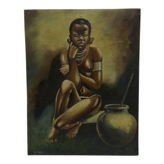 """African Tribal Woman"" Original Painting on Board"