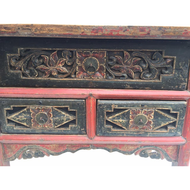 Antique Tibetan Altar Console Table 3 Drawer Chest For Sale In Richmond - Image 6 of 9