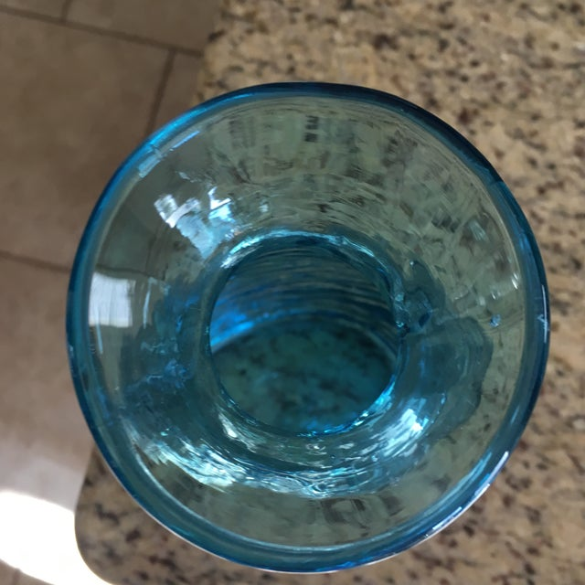 Vintage Blenko Blue Ice Glass Vase For Sale - Image 11 of 11