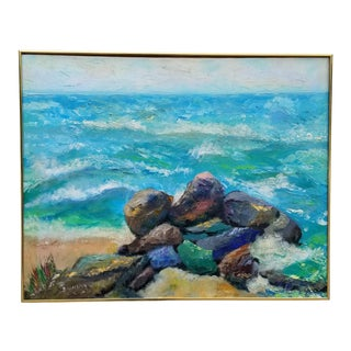 1970s Vintage B . Illfelder Ocean Scene Oil Palette Painting For Sale