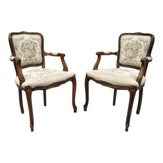 Mid 20th Century Vintage French Louis XV Style Floral Tapestry Fabric Chairs Armchairs- A Pair For Sale