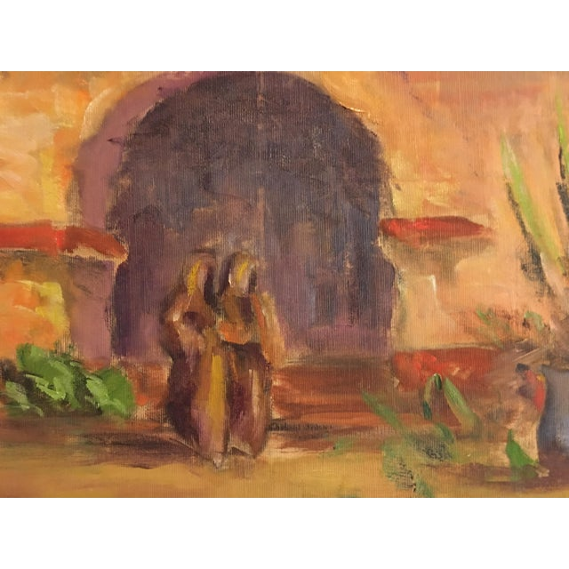 Large Vintage Mission Oil Painting on Silk Faille - Image 6 of 9