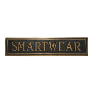 "Mid Century Vintage Brass Department Store ""Smartwear"" Sign For Sale"