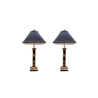 Chinoiserie Faux Bamboo Table Lamps - A Pair For Sale