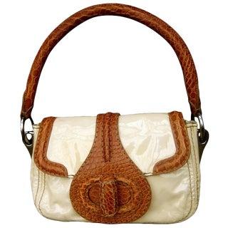 Prada Milano Tan Patent Leather Embossed Trim Handbag, Circa 1990s For Sale