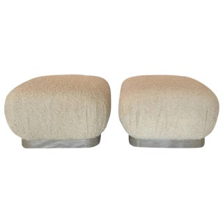Karl Springer Soufflé Poufs - a Pair For Sale