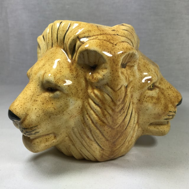 Mid-Century Lion Head Planter or Vase For Sale - Image 11 of 11