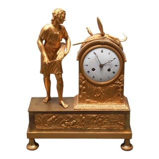 French Empire Gilt Bronze Figural Mantel Clock For Sale
