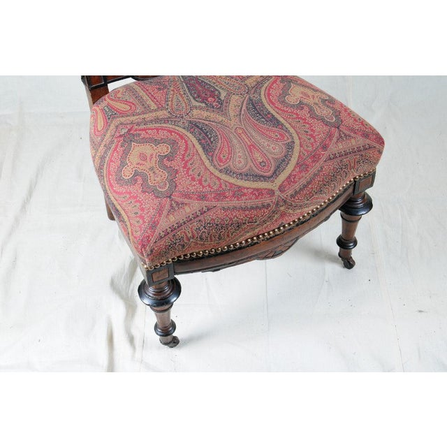 1880s Aesthetic Period Carved Wood Chair, Accent Chair, Victorian Style For Sale - Image 4 of 7