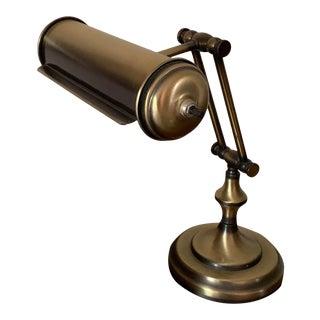 Vintage Aged Brass Articulating Desk Lamp For Sale