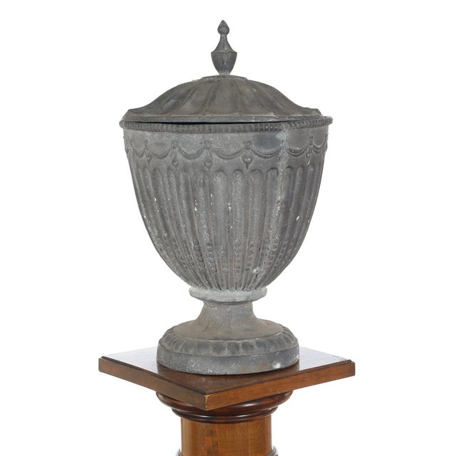 Antique Large Outdoor Lidded Metal Urn For Sale In Los Angeles - Image 6 of 9