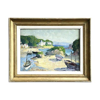 Boats in Harbor, E. Schlumberger (1879-1960) Impressionism Oil For Sale