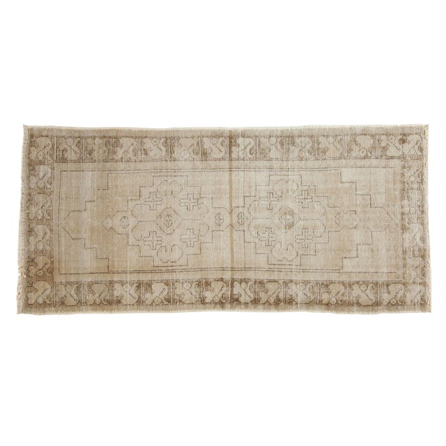 "Vintage Distressed Oushak Rug Runner - 3'1"" x 6'8"" - Image 1 of 9"