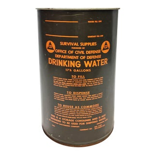 Vintage Industrial Green Metal Civil Defense Barrel - c. 1963 For Sale