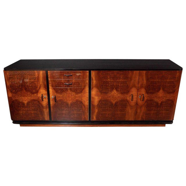 Art Deco Machine Age Burled Bookmatched Walnut and Black Lacquer Sideboard For Sale
