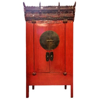 Rare Antique Red Lacquer Wedding Cabinet With Crown