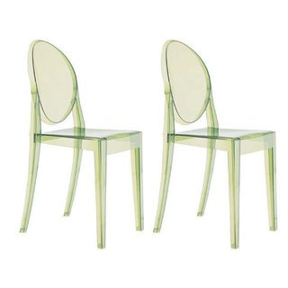 Philippe Starck Ghost Chairs in Green - A Pair