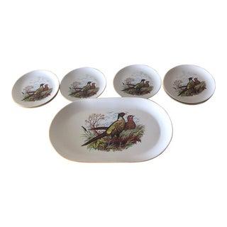 1950s Yugoslavian Vintage Boris Pheasant Platter Set - 7 Pieces For Sale
