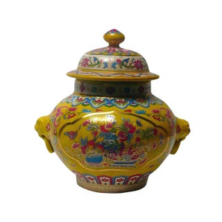 Chinese Yellow Base Color Flower Porcelain Mini Jar