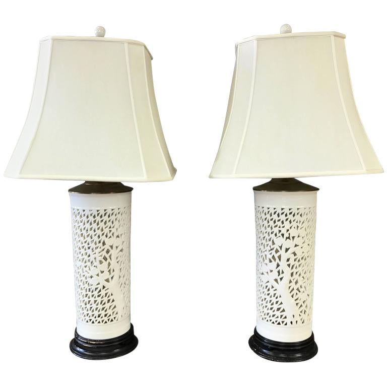 A Pair Of Blanc De Chine Cherry Tree Motif Table Lamps