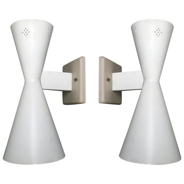 Metal Pair of Midcentury Double Cone Wall Sconces For Sale - Image 7 of 7