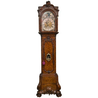 18th C. Gerrit Knip Burl Walnut Tall Case Clock For Sale