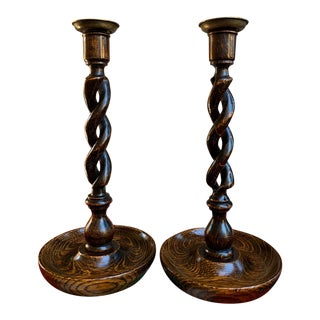 Antique English Oak Open Barley Twist Brass Candlesticks Candle Holders - a Pair For Sale