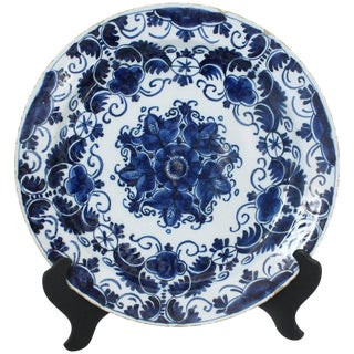 1780s Antique Delft Charger For Sale