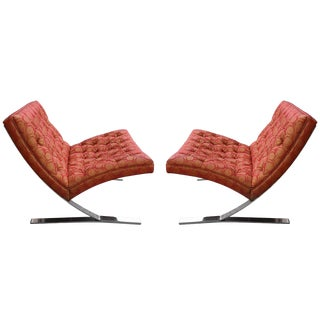 1960s Mid-Century Modern Chrome Cantilever Lounge Chairs - a Pair For Sale