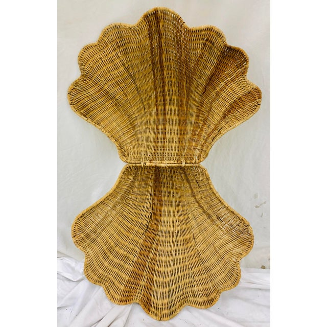 Vintage Woven Wicker Clam Shell Basket For Sale - Image 11 of 13