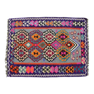 "Primitive Petite Rug. Cheerful Colors Turkish Kilim Flat Weave Colorful Rug - 3' X 4'1"" For Sale"