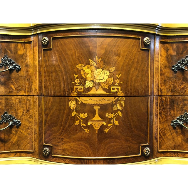 Gold Vintage French Provincial Louis XV Style Inlaid Mahogany Chest on Chest For Sale - Image 8 of 13