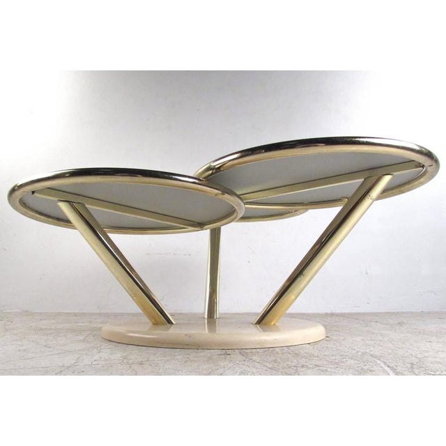 Unique Mid-Century Brass and Glass Swivel Top Coffee Table For Sale - Image 4 of 10