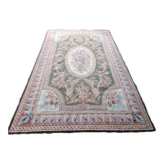 1980s, Handmade Vintage French Aubusson Rug 5.10' X 9.4' For Sale