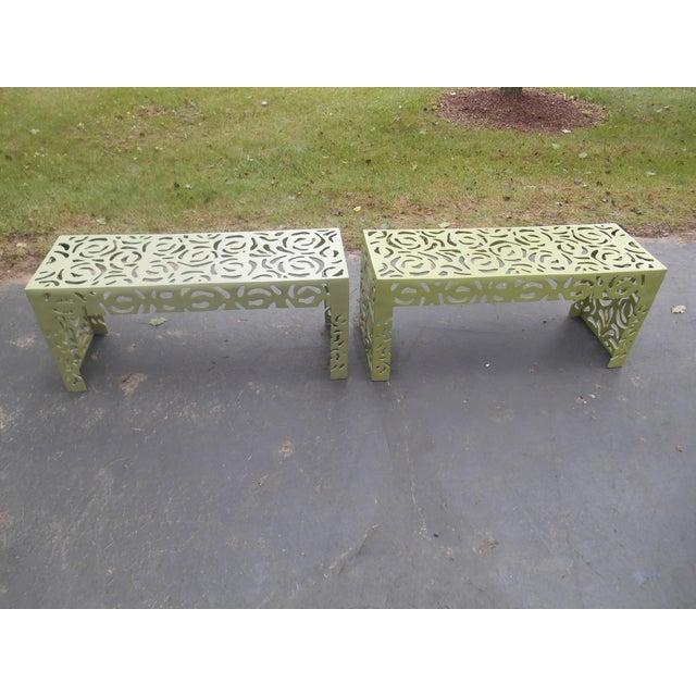 Iron Contemporary Pistachio Iron Patio/Garden Bench For Sale - Image 7 of 9