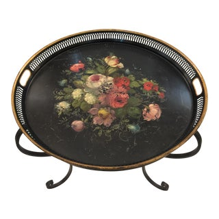 French Toleware Tray on Custom Iron Base For Sale