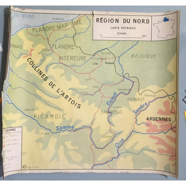 Double-Sided French Vintage School Map - Image 5 of 6