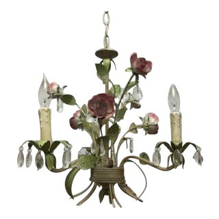 Horchow Rose & Crystal Chandelier