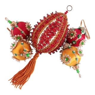 Vintage Beaded Christmas Ornaments - Set of 5 For Sale