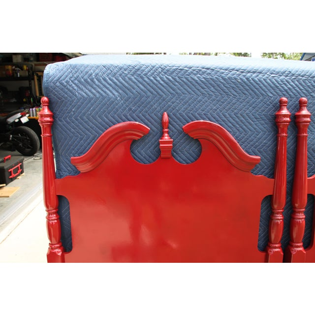1990s Hollywood Regency Georgian Gloss Red Twin Headboards - a Pair For Sale - Image 5 of 7
