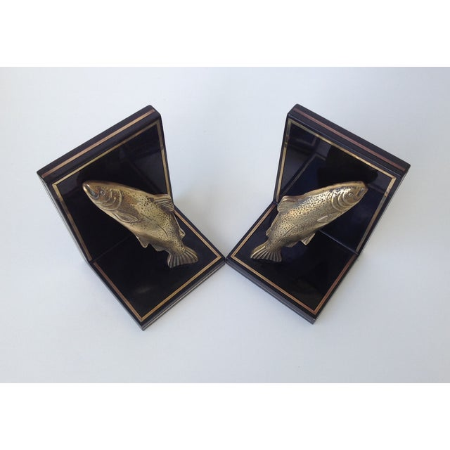 Brass Trout Fish & Wood Bookends - A Pair For Sale - Image 9 of 11