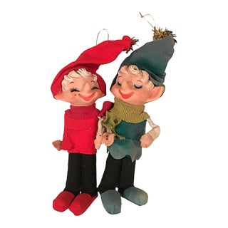 Midcentury Laughing Pixie Ornaments S/2 For Sale