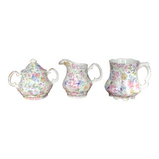Laura Pattern Chintz Tea Set of 3 For Sale