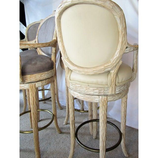 Faux Bois & Leather Upholstered Swivel Bar Stools - Set of 4 - Image 6 of 6