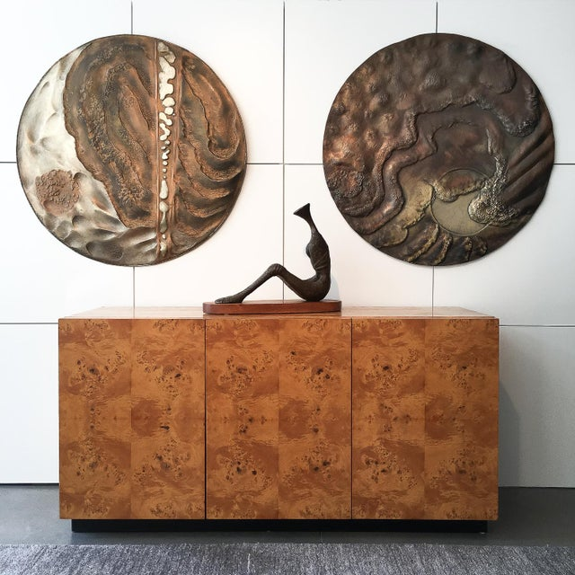 """Designer: Wendell USA - Circa 1970s Dimensions: 36"""" DIA x 0.5"""" D Condition: Very good vintage condition. Set of two..."""